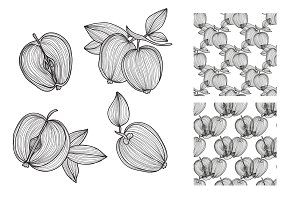Hand Drawn Apples and Patterns