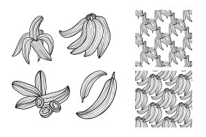 Hand Drawn Bananas and Patterns