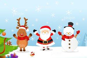 Santa Reindeer Snowman