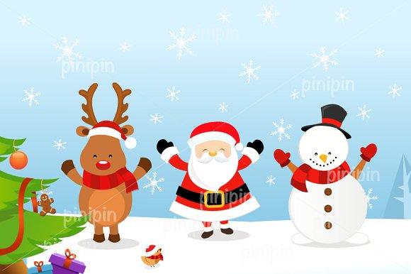santa reindeer snowman illustrations creative market - Santa And Snowman