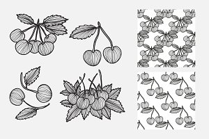 Hand Drawn Cherries and Patterns