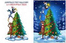 Animals Decorating a Christmas Tree