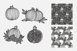 Hand Drawn Pomegranates and Patterns