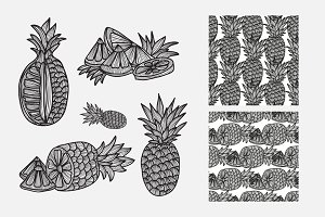 Hand Drawn Pineapples and Patterns
