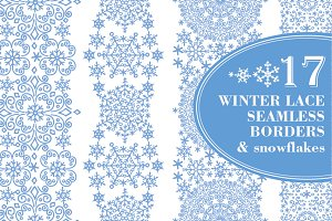 Snowflakes seamless lace borders 01