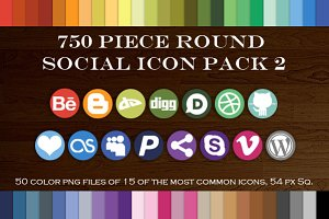 750 Piece Round Social Icons Pack 2