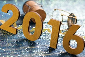 New year decoration,Closeup on 2016