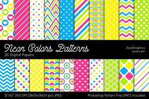 Neon Colors Digital Papers