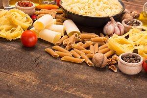 variation of italian pastas on woode