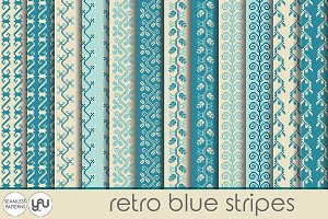 Blue digital paper: RETRO STRIPES