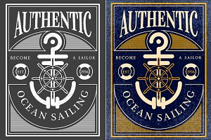 ocean sailing vintage label