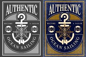 ocean sailing vintage label