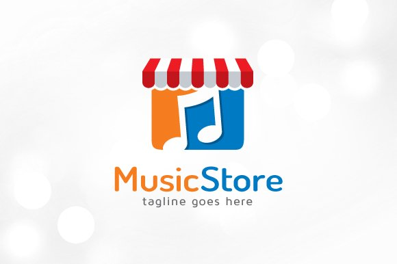 music store logo template logo templates creative market. Black Bedroom Furniture Sets. Home Design Ideas