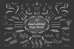 50 hand sketched design elements.