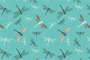 "Seamless pattern ""Dragonfly'"