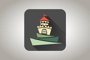 Color flat castle icon
