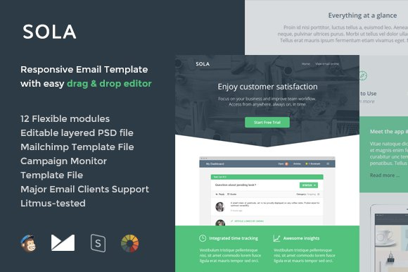 Sola Email Template Builder Email Templates Creative Market - Litmus email templates