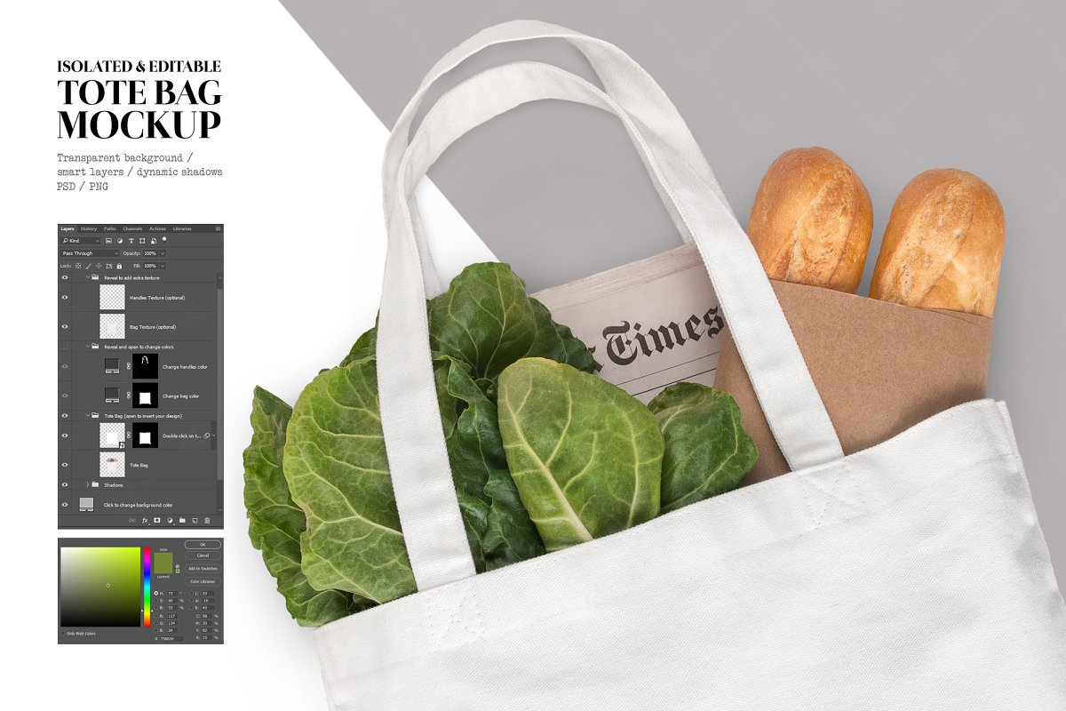 Isolated canvas tote bag mockup