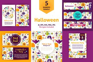 Halloween Party Vector Flat Banners