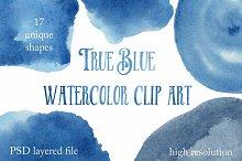 True Blue Watercolor Clip Art