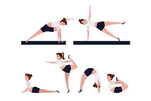 set of yoga postures sun salutation  customdesigned