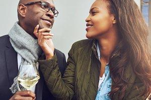 Portrait of black couple in love