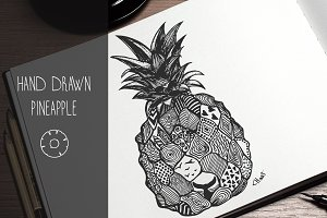 Pineapple hand drawn illustration
