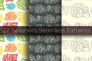 22 Seashells seamless patterns set
