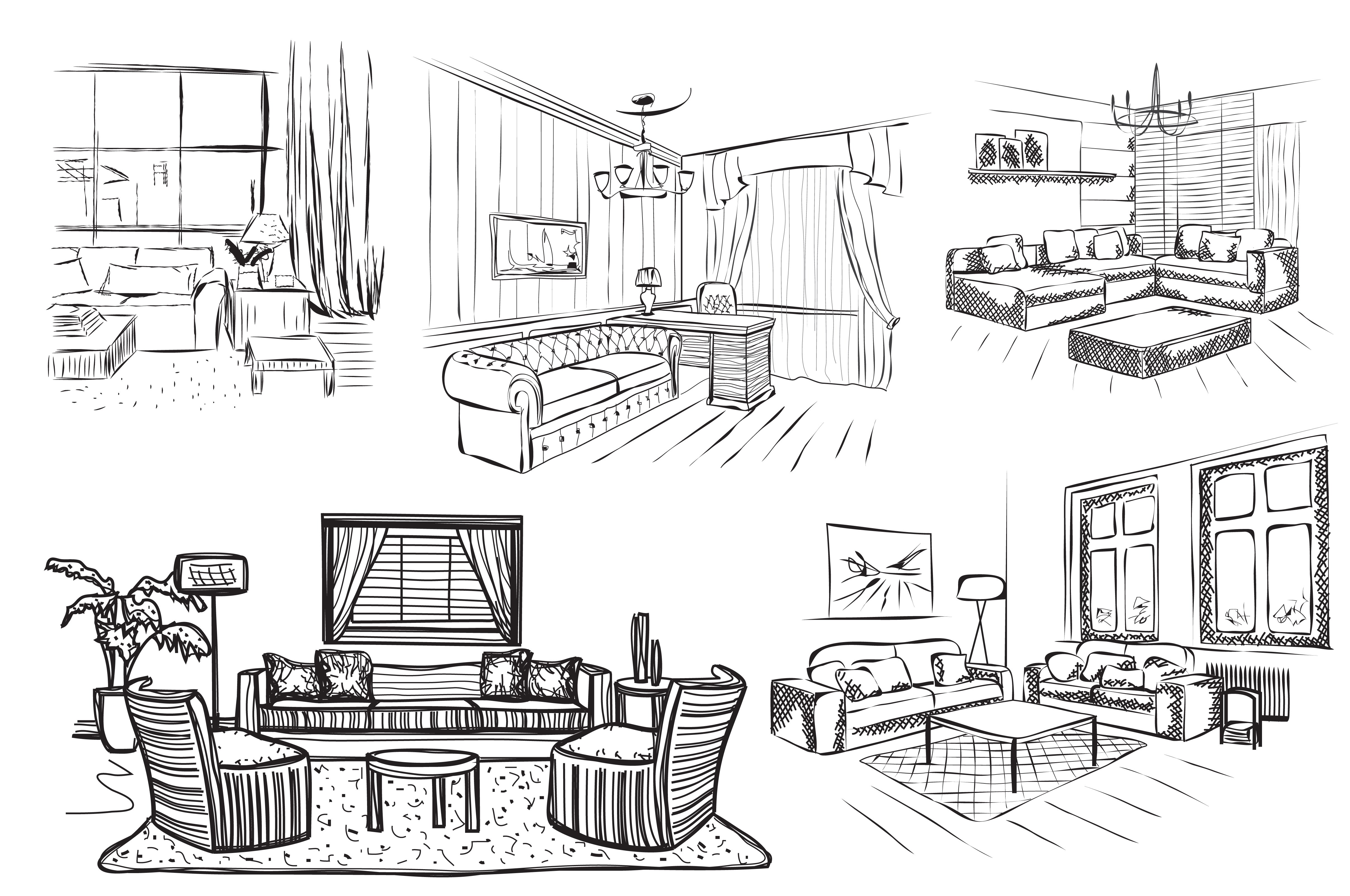 Room interior sketch illustrations creative market Room sketches interior design