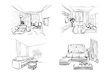 Room Interior Sketches
