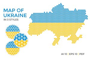 Ukraine Map in 3 Styles