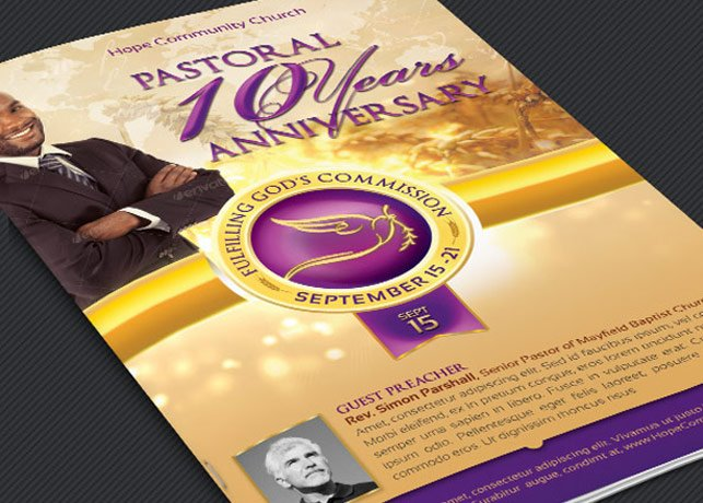 clergy anniversary service program templates creative market