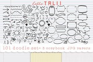 101 doodles clipart + 3 copybook JPG