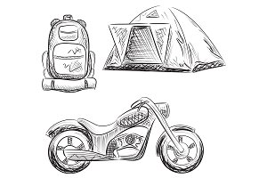 Tourism. Backpack, tent, motorbike.