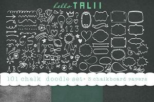 101 Chalk doodles + 3 chalkboard JPG