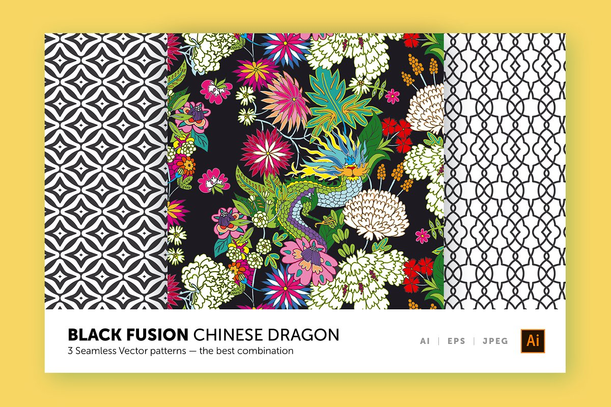 Chinese Dragon Patterns Collection Custom Designed Graphic