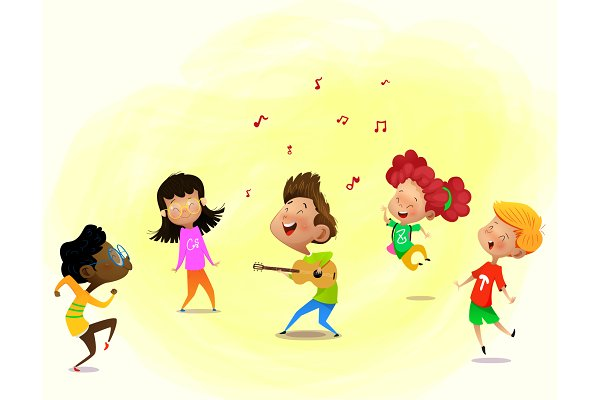 Group Of Cartoon Kids Are Dancing Pre Designed Illustrator Graphics Creative Market