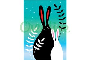 Stary Night Bunny Illustration