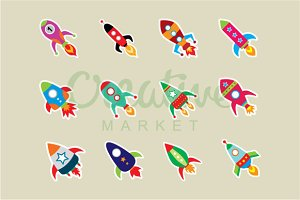 Cute Rocket Sticker Vector