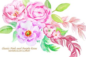 Watercolor Classic Rose Clip Art