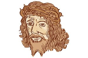 Jesus Christ Face Crown Thorns Etchi