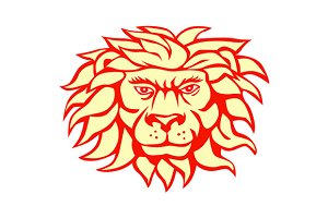 Angry Lion Big Cat Head Retro