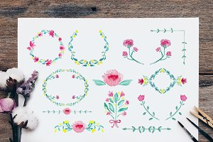 Watercolor Flower Wreath and Divider