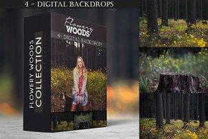 Flowery Woods - Digital Backdrops