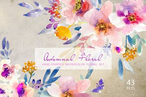 Autumnal Floral- Watercolor Clipart