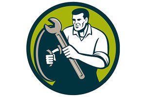 Mechanic Brandishing Spanner Wrench