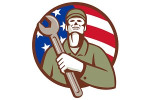 Mechanic Holding Wrench USA Flag Cir