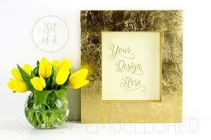 Set of 2 ~ Gold Frame Mockups