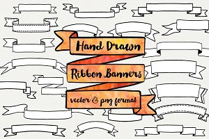 Hand Drawn Ribbon Banners