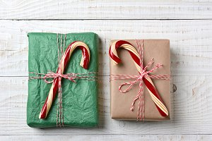 Christmas Presents With Candy Canes